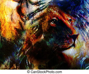 portrait lion, profile portrait, on colorful abstract  background. Abstract color collage with spots.