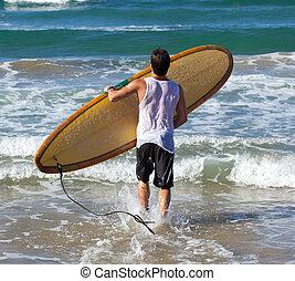 portrait, longboard, surfeur