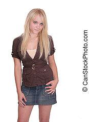 portrait, longueur, blond, moitié