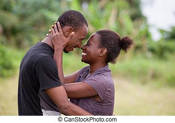 portrait, love., jeune, africaine, couple