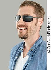 portrait, lunettes soleil, homme