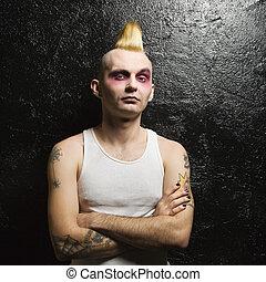portrait, mâle, punk.