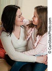 portrait, -, mère, amour, enfant