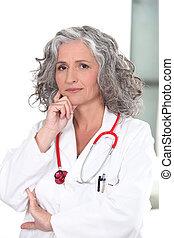portrait, mûrir, docteur féminin