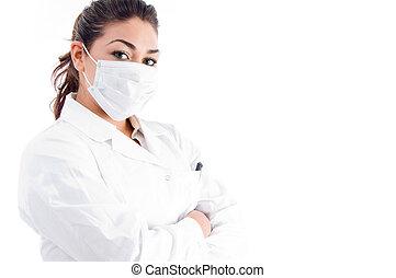 portrait, mains pliées, masque, docteur