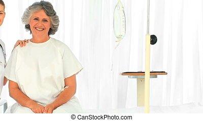 portrait, malade infirmière, elle