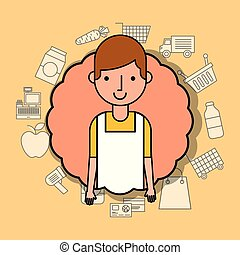 portrait man cartoon wit apron supermarket employee