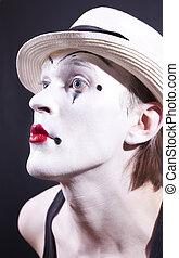 portrait, maquillage, acteur, pantomime