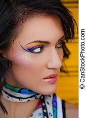 portrait, maquillage, coloré, femme