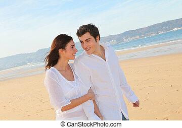 portrait, marche, agréable, plage, couple