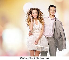 portrait, marche, couple, jeune