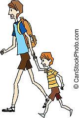 portrait, marche, père, fils