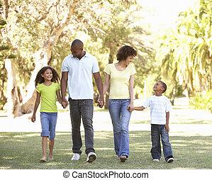 portrait, marche, parc, famille, heureux