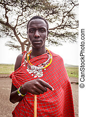 portrait, masai, jeune