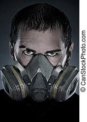 portrait, masque gaz