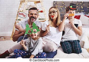 portrait, masque, noël, famille, heureux