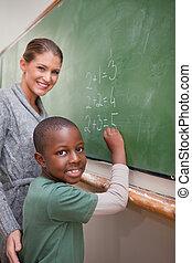 portrait, mathématiques, pupille, expliquer, prof