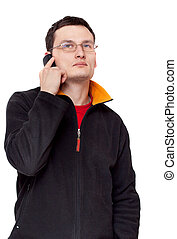 Portrait men in spectacles with telephone
