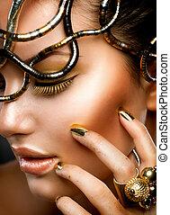 portrait., menina, maquilagem, moda, ouro