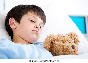 portrait, mensonge, hôpital, garçon, lit malade