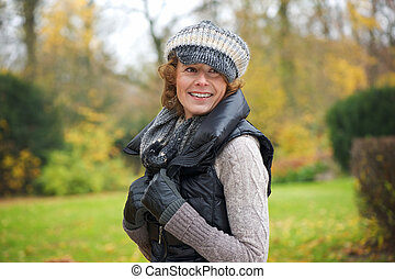 Portrait Middle Aged Woman Outdoors