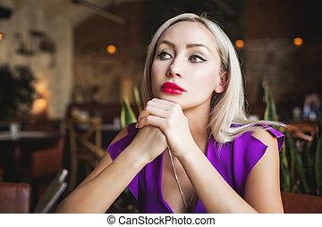 portrait, mignon, femme, restaurant