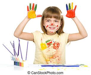 portrait, mignon, girl, jouer, peintures