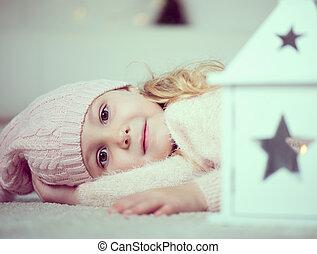 portrait, mignon, girl, temps noël