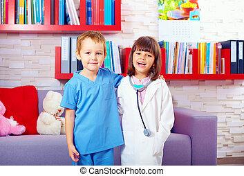 portrait, mignon, gosses, jouer, médecins