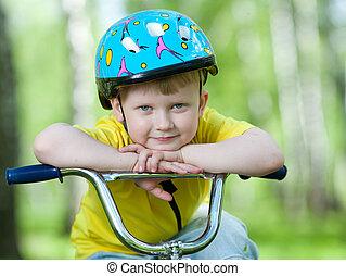 portrait, mignon, vélo, enfant