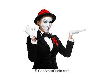 portrait, mime, approuver