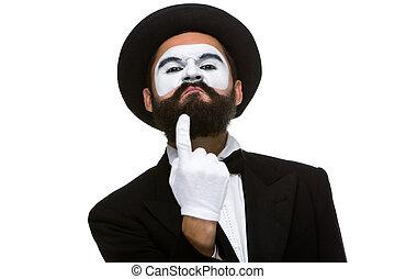 portrait, mime, doigt indique