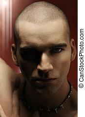 portrait, modèle, mâle jeune, énervé