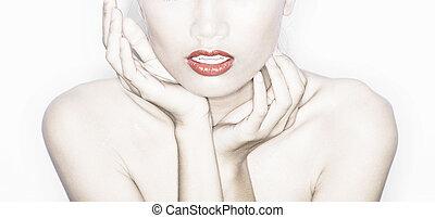 portrait, modèle, mode, studio, détail
