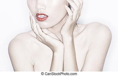 portrait, modèle, studio, mode, détail