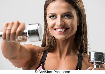 portrait, modèle, tondu, heureux, fitness, beau