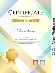 Portrait modern certificate of achievement template with modern colorful pattern in vector illustration