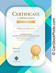 Portrait modern certificate of appreciation template with modern colorful pattern in vector illustration