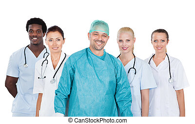 portrait, monde médical, confiant, équipe