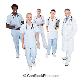 portrait, monde médical, heureux, multiethnic, équipe