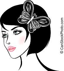 portrait., mulher, desenho, beleza, element.