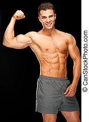 portrait, musculaire, homme, biceps, confiant, sien, fléchir