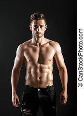 portrait, musculaire, homme, fond, sombre, sans chemise, sexy