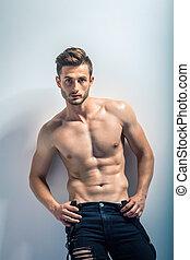 portrait, musculaire, homme, sans chemise, sexy