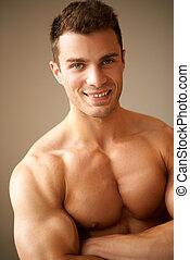 portrait, musculaire, homme, sourire, bras