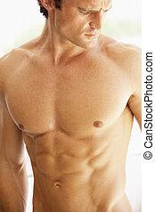 portrait, musculaire, homme, torse, jeune, nu
