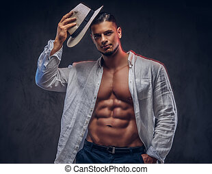 portrait, musculaire, panama, chemise blanche, sexy, type, beau, unbuttoned, hat., corps