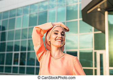 Portrait Muslim Woman wearing Hijab