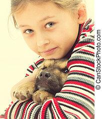 portrait nice little girl and dog