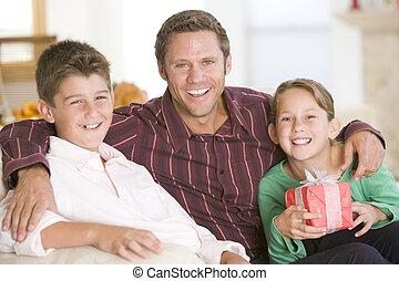 portrait, noël, famille